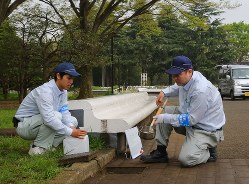 デング熱対策のため蚊の調査をする作業員ら=東京都渋谷区の代々木公園で2015年4月