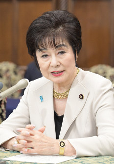 Akiko Santo speaks at a press conference marking her appointment as president of the House of Councillors, in the Diet building on Aug. 1, 2019. (Mainichi/Masahiro Kawata)