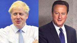 【左】ボリス・ジョンソン英首相=AP【右】デビッド・キャメロン元英首相=望月亮一撮影