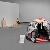 展示の中止が決まった「平和の少女像」など「表現の不自由展・その後」のコーナー=名古屋市東区で2019年7月31日、大西岳彦撮影