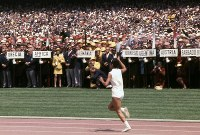 1968 Mexico City Olympics -- Enriqueta Basilio runs as the first female anchor in the torch relay in Olympic history.