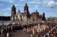1968 Mexico City Olympics -- Athletes competing in the men's marathon start from Zocalo Square.