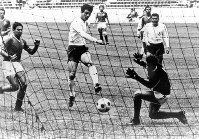 1968 Mexico City Olympics – Japan's Kunishige Kamamoto scores a goal in the bronze medal match of the men's soccer event. Kamamoto scored seven goals to become the top scorer in the event, the first for an Asian player.