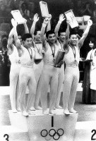 1968 Mexico City Olympics -- The Japanese team won the gold medal in the men's gymnastics team event. From left in the front are Sawao Kato, Mitsuo Tsukahara and Eizo Kenmotsu, from left in the back are Yukio Endo, Takeshi Kato and Akinori Nakayama.