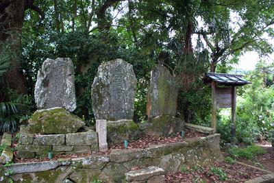 (左から)節斉、妻女琴、子息司馬太郎の墓石=紀の川市荒見の北家墓地で