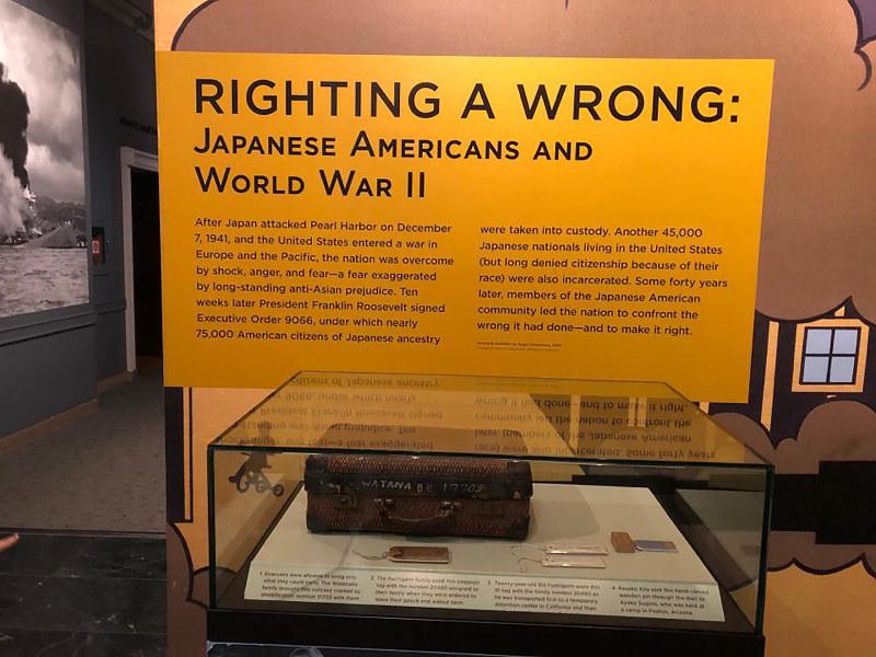 国立アメリカ歴史博物館での日系人の関係展示物(筆者撮影)