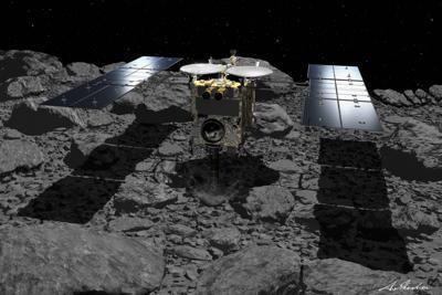 小惑星リュウグウへの2度の着陸を成功させた探査機「はやぶさ2」の想像図=池下章裕さん提供