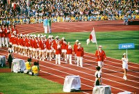 1972 Munich Olympics -- The Japanese delegation marches during the opening ceremony, in which a total of 121 nations and regions participated. Japan won 13 gold medals in the global event.
