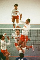 1972 Munich Olympics -- Japan's Masayuki Minami hits a powerful spike against East Germany in the final of the men's volleyball.