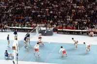 1972 Munich Olympics -- The Japanese men's volleyball team competes against East Germany in the final.