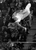 1972 Munich Olympics -- Japan's Mitsuo Tsukahara won the gold medal in the horizontal bar in the men's gymnastics. He finished his performance with a display of his new