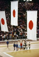 1972 Munich Olympics -- Japan impressively captured the gold, silver and bronze medals in the individual all-around event in the men's gymnastics. The gold went to Sawao Kato, the silver to Eizo Kenmotsu and the bronze to Akinori Nakayama.