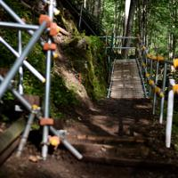 御巣鷹の尾根の登山道の一部では、高齢化が進む遺族たちのために緩やかなスロープが今年から新たに設置されていた=群馬県上野村で2019年8月12日午前7時16分、喜屋武真之介撮影