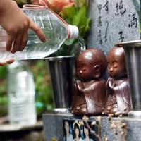 訪れた遺族らによって墓石や写真が清められた田淵陽子さん、満さん、純子さんの銘標=群馬県上野村で2019年8月12日午後0時15分、滝川大貴撮影