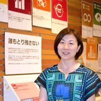「誰一人取り残さないように、アクションとパートナーシップを呼び掛けたい」と語るJICA関西所長の西野恭子さん=神戸市中央区で、中尾卓司撮影