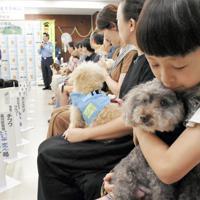 「特殊詐欺被害防止犬」の委嘱式に臨む犬や飼い主ら=品川区荏原6の荏原署で