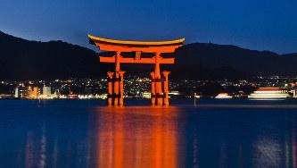 毛利元就とゆかりの深い厳島神社の大鳥居