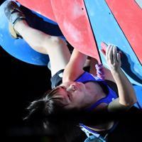 女子リードで銅メダルを獲得した森秋彩=東京・エスフォルタアリーナ八王子で2019年8月15日、宮間俊樹撮影