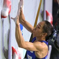 スピード女子予選、34位となり予選敗退となった野口啓代=東京・エスフォルタアリーナ八王子で2019年8月17日、宮武祐希撮影