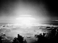 In this May 21, 1956, file photo, the fireball of a hydrogen bomb lights the Pacific sky a few seconds after the bomb was released over Bikini Atoll. (AP Photo)