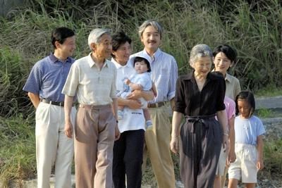 散策される上皇ご夫妻ら=須崎御用邸三井浜で2002年(代表撮影)