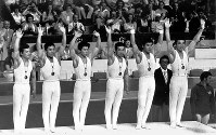 1976 Montreal Olympics -- The Japanese men's gymnastics team won five consecutive gold medals in the team event for the first time in Olympic history. From left are team members Hiroshi Kajiyama, Eizo Kenmotsu, Hisato Igarashi, Sawao Kato, Shun Fujimoto and Mitsuo Tsukahara. The Japanese men's gymnastics team captured a total of 23 gold medals in the team and individual events through five consecutive Olympics from the 1960 games in Rome.