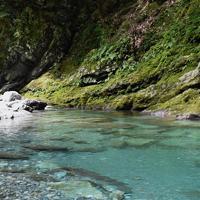 仁淀ブルーを堪能できる安居渓谷=高知県仁淀川町で、松原由佳撮影