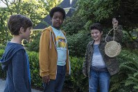 This image released by Universal Pictures shows Jacob Tremblay, from left, as Max, Keith L. Williams as Lucas and Brady Noon as Thor in the film,