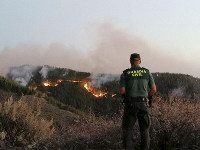 In this photo issued by the Guardia Civil, an officer looks at a forest fire in Gran Canaria, Spain, on Aug. 11, 2019. (Guardia Civil Via AP)