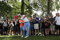Justin Thomas hits his second shot on the first hole during the final round of the BMW Championship golf tournament at Medinah Country Club, on Aug. 18, 2019, in Medinah, Ill. (AP Photo/Nam Y. Huh)