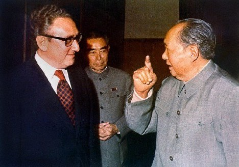 From left, Henry Kissinger, Zhou Enlai and Mao Zedong. (Public domain)