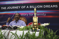 Indian Space Research Organization (ISRO) Chairman Kailasavadivoo Sivan speaks during a press conference at ISRO's headquarters in Bangalore, India, on Aug. 20, 2019. (AP Photo/Aijaz Rahi)
