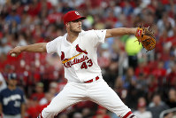 St. Louis Cardinals starting pitcher Dakota Hudson throws during the fourth inning of a baseball game against the Milwaukee Brewers on Aug. 19, 2019, in St. Louis. (AP Photo/Jeff Roberson)