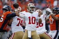 San Francisco 49ers quarterback Jimmy Garoppolo (10) throws against the Denver Broncos during an NFL preseason football game on Aug. 19, 2019, in Denver. (AP Photo/David Zalubowski)