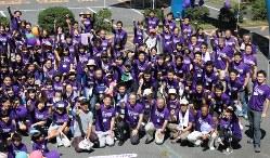 膵臓がん克服を目指す啓発イベントに参加した人たち=2014年9月に津市で