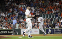 Houston Astros starting pitcher Justin Verlander walks off the mound after giving up a home run to Detroit Tigers' John Hicks (55) during the ninth inning of a baseball game on Aug. 21, 2019, in Houston. (AP Photo/David J. Phillip)