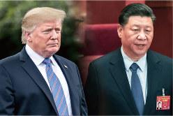 米中は通商戦争から通貨戦争へ(トランプ米大統領〈左〉)と習近平・中国国家主席)(Bloomberg)
