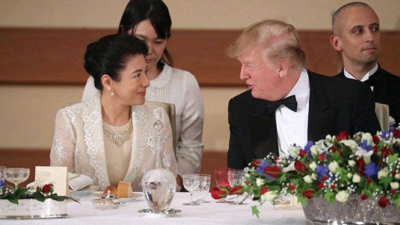 宮中晩さん会でトランプ米大統領と歓談される皇后雅子さま=皇居・宮殿「豊明殿」で2019年5月27日、代表撮影