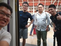 This photo provided by Wilson Li shows Simon Cheng Man-kit, second from left, a resident of Hong Kong. China said on Aug. 21, 2019, Cheng, a staffer at the British consulate in Hong Kong, has been given 15 days of administrative detention in the neighboring mainland city of Shenzhen for violating regulations on public order. (Wilson Li via AP)