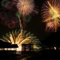 次々と海上で打ち上げられる花火=広島県廿日市市で2019年8月24日午後8時16分、山田尚弘撮影(長時間露光)