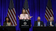 U.S. House Speaker Nancy Pelosi gestures while speaking at the Democratic National Committee's summer meeting on Aug. 23, 2019, in San Francisco. (AP Photo/Ben Margot)