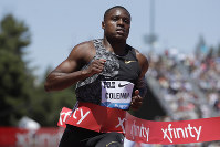In this June 30, 2019, file photo, United States' Christian Coleman wins the men's 100-meter race at the Prefontaine Classic IAAF Diamond League athletics meet in Stanford, Calif. (AP Photo/Jeff Chiu)
