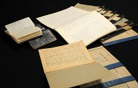 Documents compiled by Michiji Tajima, the first postwar grand steward of the Imperial Household Agency, are seen in Tokyo's Shibuya Ward on Aug. 19, 2019. (Mainichi/Naotsune Umemura)