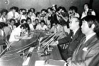 1980 Moscow Olympics -- Katsuji Shibata, Japanese Olympic Committee chairperson, tells reporters that it decided not to participate in the games at an extraordinary general meeting.