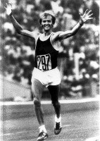 1980 Moscow Olympics -- Waldemar Cierpinski, of East Germany, wins his second consecutive gold medal following the Montreal games, with a time of 2 hours, 11 minutes and 3 seconds in the men's marathon.