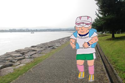 (1)早朝の湖畔を走る=大津市で、香取泰行撮影
