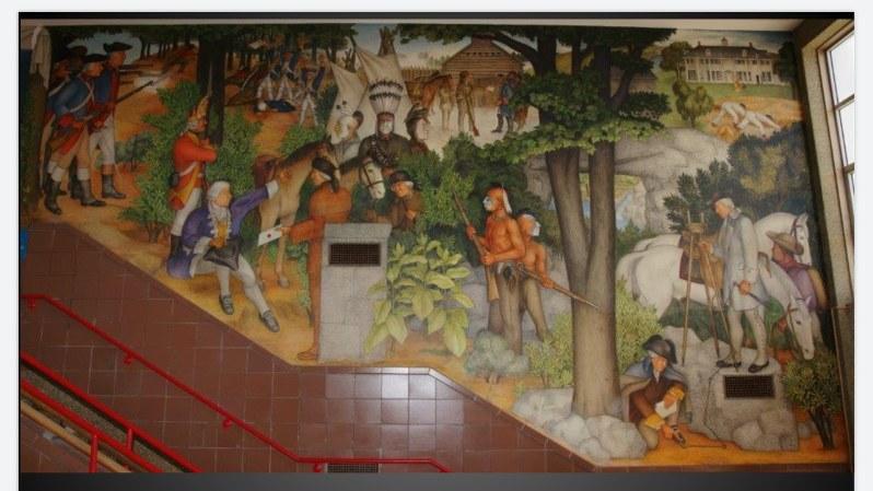 壁画「ジョージ・ワシントンの生涯」の一部 (サンフランシスコ統一学区(SFUSD)提供)
