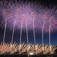 夜空を彩る「大曲の花火」(7秒間露光)=秋田県大仙市で2019年8月31日午後6時52分、和田大典撮影