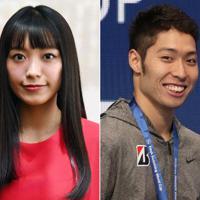 miwaさん(左)と萩野公介選手