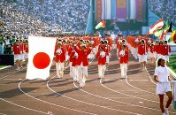 1984 Los Angeles Olympics -- Athletes representing Japan, the 64th delegation to appear in the Olympic Games opening ceremony, march behind flag bearer Shigenobu Murofushi, a hammer thrower. Japan won 10 gold medals at the games. A total of 140 nations and regions participated.